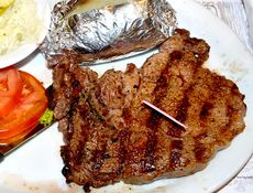 Lumberjack 8oz New York Strip Steakhouse Sandwich no bun Baked Potato DSC 0233.jpg
